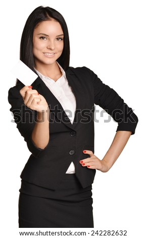 Business woman holding in one hand a blank white business card