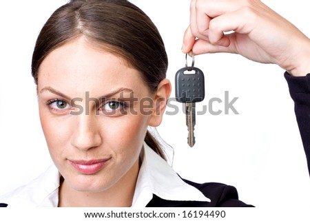Business woman holding key