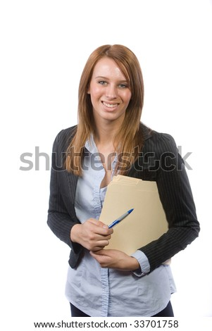 Business woman holding legal documents isolated on white - stock photo