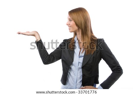 Business woman holding out hand isolated on white - stock photo