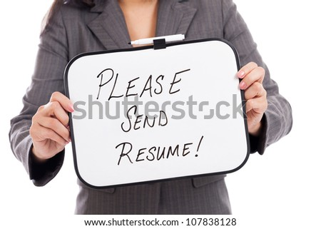 business woman holding please send resume stock photo 107838128