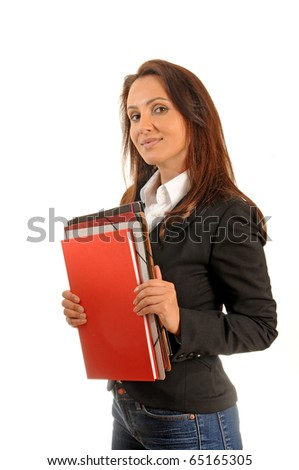 business woman holding some documents.