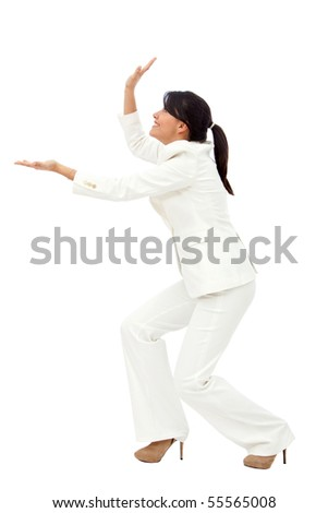 Business woman holding something imaginary isolated over a white background