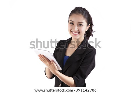 business woman holding tablet computer isolated on white background - stock photo