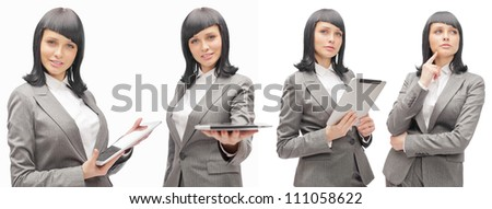 Business woman holding tablet computer isolated on white background. Working on touching screen set.