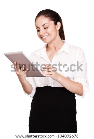 Business woman holding tablet PC - stock photo