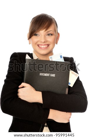 Business woman holding the document case with money in the hands as a symbol of wealth - stock photo
