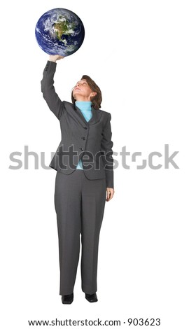business woman holding the earth with 1 hand