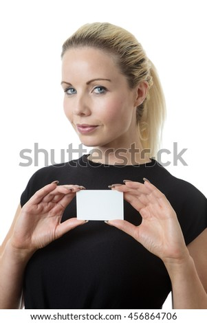 Business woman holding up a business card - stock photo