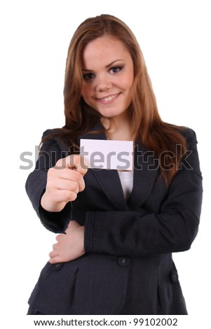 Business woman holds business white, empty business card. - stock photo