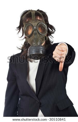 Business woman in gas mask isolated on white background. Eyes on focus, shallow depth of field - stock photo