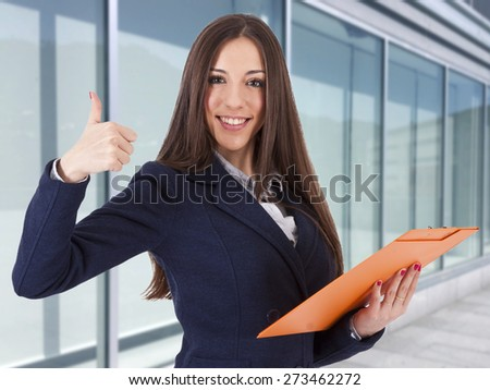 business woman in positive attitude, lifestyle - stock photo