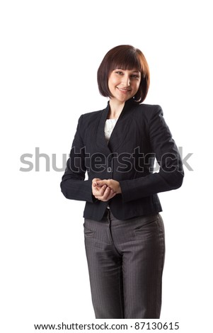 Business woman  in the black suit on white background