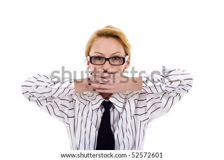 business woman in the Speak No Evil pose over white - stock photo