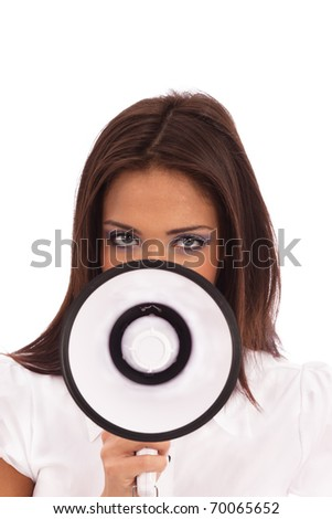 Business Woman in  white blouse talking through a megaphone