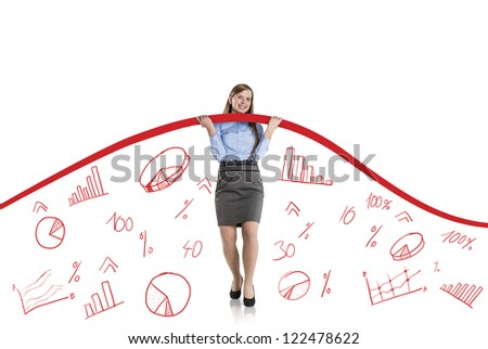 Business woman is trying to increase market statistics. - stock photo