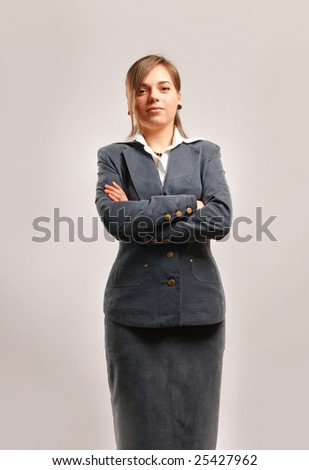 Business woman isolated against white background. - stock photo