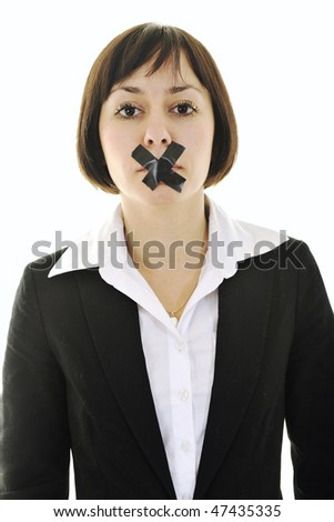 business woman isolated on white with black tape on mouth representing no speech and media - stock photo
