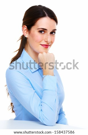 Business woman. Isolated over white background. - stock photo