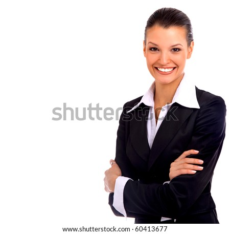business woman. Isolated over white background - stock photo
