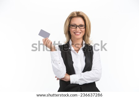Business woman isolated white background portrait. Business woman holding business card  - stock photo