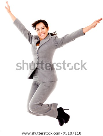 Business woman jumping - isolated over a white background - stock photo