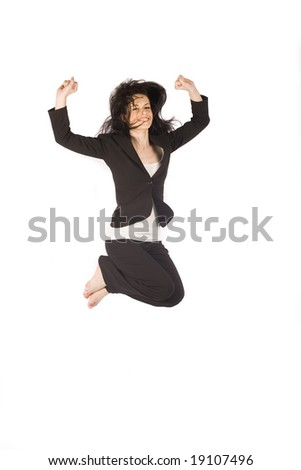 Business woman jumping on white studio background - stock photo