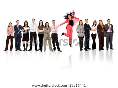 business woman jumping with her business team formed of young businessmen and businesswomen standing over a white background with reflections - stock photo