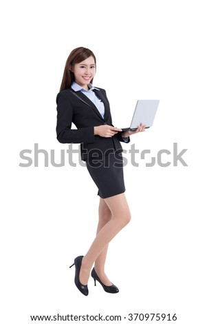 business woman lean something and use computer isolated on white background, asian - stock photo