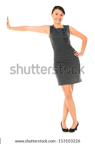 Business woman leaning imaginary wall - isolated over white - stock photo