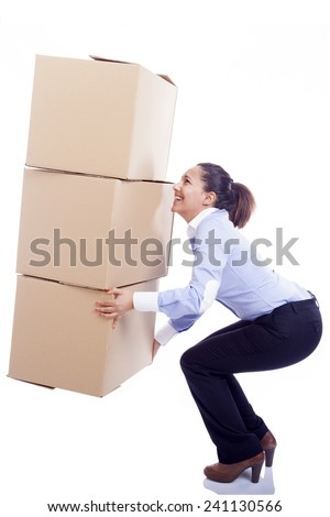 Business woman lifting card boxes, isolated on white background - stock photo