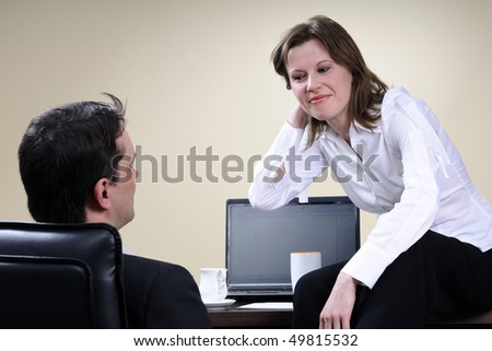 business woman listening her boss - stock photo