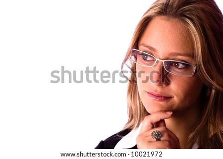 Business woman look away - stock photo