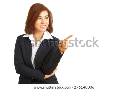 Business woman looking space on Left side, white isolated background - stock photo