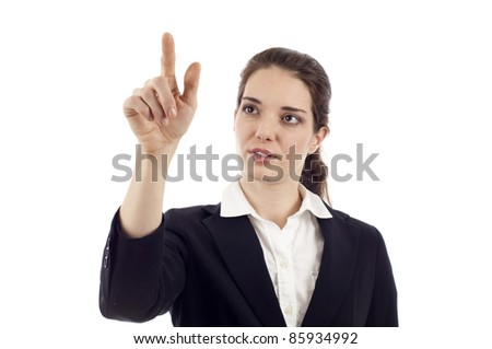 Business woman looking up and pointing at the screen isolated over white background - stock photo