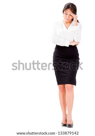 Business woman looking very worried - isolated over white - stock photo