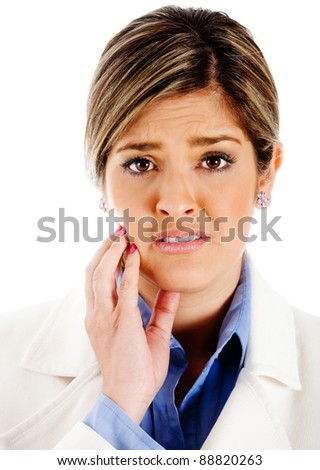 Business woman looking worried isolated over a white background