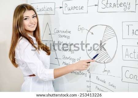 Business woman making a presentation at the office. Training, meeting.  - stock photo