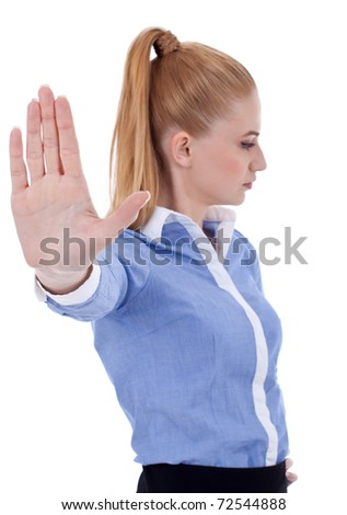 Business woman making stop sign - isolated over white - stock photo