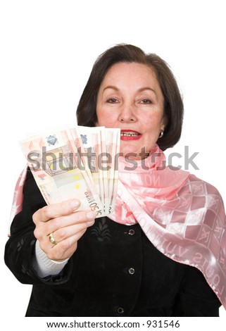 business woman offering money