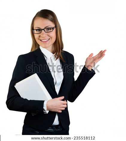 business woman on an isolated white background, which shows that - stock photo