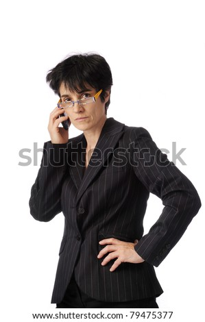 business woman on her mobile phone. Isolated on white background