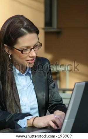 Business Woman on Laptop - stock photo
