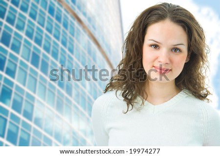 business woman on modern buildings background