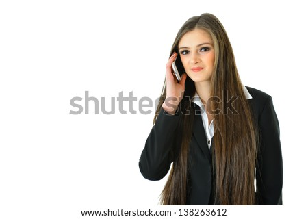 Business Woman on Phone Looking Straight and Smiling - stock photo
