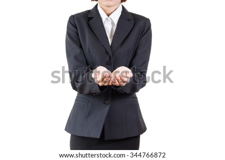 business woman open palm hand for showing something isolated on white background