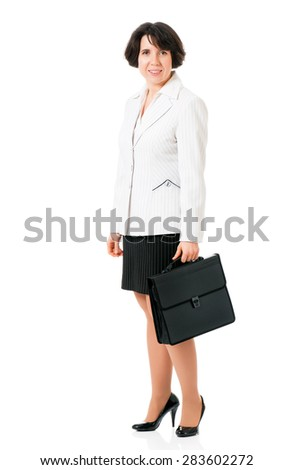 Business woman or teacher in suit with briefcase, isolated white background - stock photo