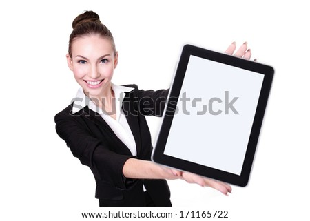Business Woman or teacher showing tablet pc computer with empty screen isolated on white background - stock photo