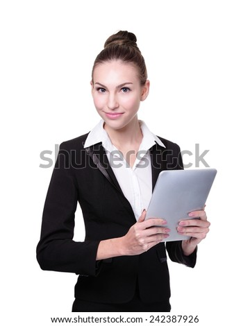 Business Woman or teacher using digital tablet pc computer isolated on white background, caucasian - stock photo