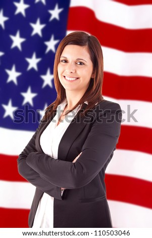 Business woman over american flag background - Labor Day - stock photo